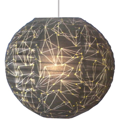 Room Essentials Pendant Lamp Paper Shade - Black with Pattern