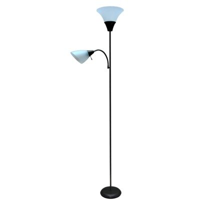 Room Essentials Torchiere Floor Lamp w/ Task Light Black