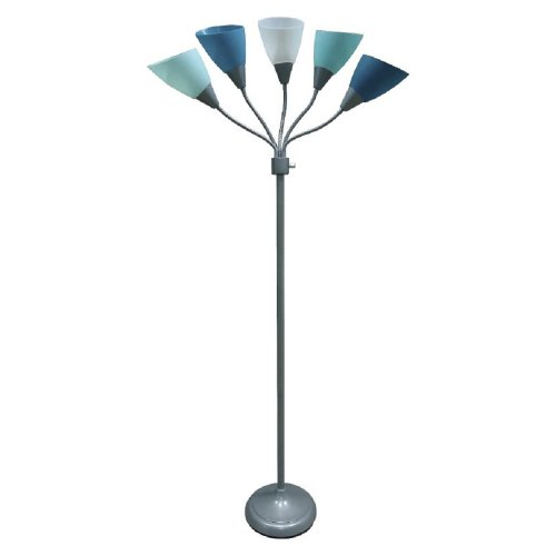 Blue Floor Lamp with Multiple Heads and Adjustable Shades